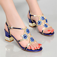 cheap Women's Sandals-Women's Shoes Nappa Leather Summer Club Shoes Sandals Chunky Heel Rhinestone for Casual Dress Party & Evening Gold Purple Blue