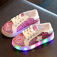 Girls' Sneakers Light Up Shoes Luminous Shoe First Walkers Leatherette Spring Fall Wedding Casual Outdoor LED Low HeelGold Green Blushing