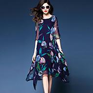 여성용 플러스 사이즈 데이트 루즈핏 쉬폰 드레스 - 플로럴, 프린트 비대칭 / 여름