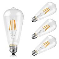 4W E26/E27 Lâmpadas de Filamento de LED ST64 4 COB 400 lm Branco Quente K Decorativa AC 220-240 V