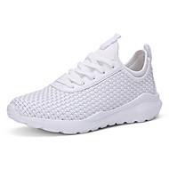 Homens sapatos Microfibra Primavera Outono Solados com Luzes Conforto Tênis Caminhada Cadarço para Atlético Casual Ao ar livre Branco
