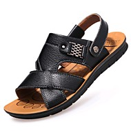 baratos Sapatos Masculinos-Homens Sapatos Confortáveis Couro Primavera / Verão Sandálias Caminhada Preto / Marron / Khaki / Casual / Tachas / Ao ar livre