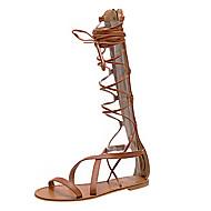 baratos Sapatos Femininos-Mulheres Sapatos Couro Ecológico Verão Conforto Sandálias Sem Salto Dedo Aberto Cadarço Preto / Marron / Com Laço