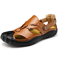 Men's Sandals Comfort Leather Cowhide Spring Summer Athletic Casual Outdoor Hiking Comfort Button Flat Heel Black Brown Dark Brown Khaki