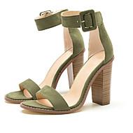 Mulheres Sapatos Tecido Verão Sapatos clube Sandálias Salto Robusto Dedo Aberto Presilha para Festas & Noite / Social Verde / Rosa Claro