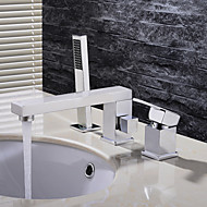 コンテンポラリー デッキマウント ハンドシャワーは含まれている with  セラミックバルブ 三つ シングルハンドル三穴 for  クロム , バスルームのシンクの蛇口