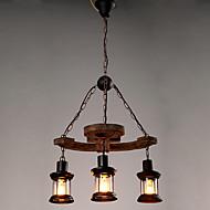billige Takbelysning og vifter-3-Light Industriell Anheng Lys Nedlys Malte Finishes Tre / Bambus Glass Mini Stil 110-120V / 220-240V Pære ikke Inkludert / E26 / E27