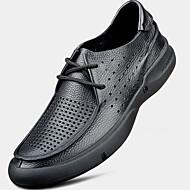 tanie Small Size Shoes-Męskie Skórzany Lato Comfort Sandały Black / Coffee