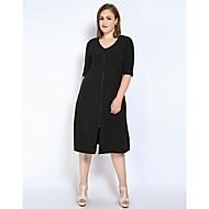 Dame Store størrelser Arbeid Skiftet / T skjorte / Tunik Kjole - Ensfarget, Delt U-hals Midi