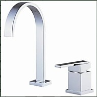 Contemporary Widespread Waterfall with  Ceramic Valve Two Holes Single Handle Two Holes for  Chrome , Bathroom Sink Faucet