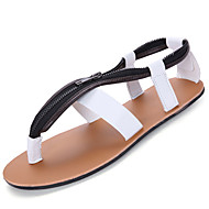 Men's Sandals Summer Comfort PU Outdoor Flat Heel Light Brown Black White