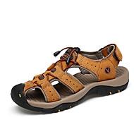 זול -בגדי ריקוד גברים נעליים עור קיץ סתיו נוחות סנדלים וו ולולאה ל אתלטי קזו'אל בָּחוּץ חום בהיר חום כהה