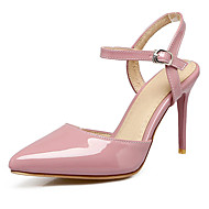 cheap Small Size Shoes-Women's Shoes Leatherette Spring Summer Comfort Sandals Stiletto Heel Pointed Toe Buckle for Casual Office & Career Dress Black Beige Pink