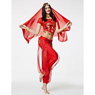 Skal vi maven danse outfits kvinder 4 stykker bukser / top / slør / hofte tørklæde