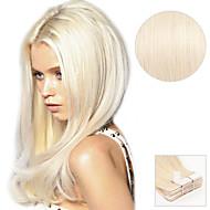 20pcs Band in Haarverlängerungen # 60 Platin blonde Asche blonde 40g 16inch 20inch 100% Menschenhaar für Frauen