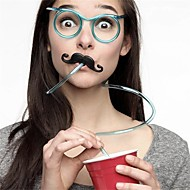 1 stuks grappige zachte bril stro unieke flexibele drinkbuis kinderfeestaccessoires