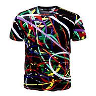 Χαμηλού Κόστους -Ανδρικά Μεγάλα Μεγέθη T-shirt Αθλητικά Ενεργό - Βαμβάκι Γεωμετρικό Στρογγυλή Λαιμόκοψη Λεπτό Στάμπα / Κοντομάνικο