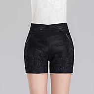 Damer Sweet Style Tynd Shorts Bukser,Højtaljede Jacquard Vævning Ensfarvet