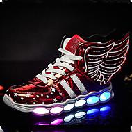 baratos Sapatos de Menino-Para Meninos Sapatos Couro Ecológico Verão / Outono Conforto / Inovador / Tênis com LED Tênis Caminhada Cadarço / LED para Preto / Prata / Vermelho / Borracha