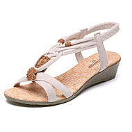 cheap Women's Sandals-Women's Shoes PU Summer Comfort Sandals Flat Heel Low Heel Open Toe Ruffles for Casual Black Beige