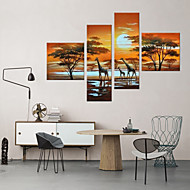 Landscape Oil Painting Three Giraffes Framed Handmade Wall Art For Home Decoration