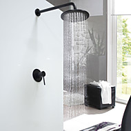 Round Wall Mounted Wall Mount Ceramic Valve Oil-rubbed Bronze , Shower Faucet