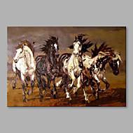 מצויר ביד בעלי חיים אופקי,מודרני / עכשווי מופשט (אבסטרקטי) פנל אחד בד ציור שמן צבוע-Hang For קישוט הבית