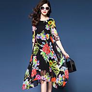 Χαμηλού Κόστους YHSP®-Γυναικεία Μεγάλα Μεγέθη Εκλεπτυσμένο Κινεζικό στυλ Φαρδιά Σιφόν Swing Φόρεμα - Φλοράλ, Κομψό Σιφόν Εκτύπωση Μίντι Ασύμμετρο