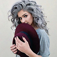 Top Quality Gray Hair Color Wig Heat Resistant Synthetic Hair Wig Water Wave Wig Lace Front Wig