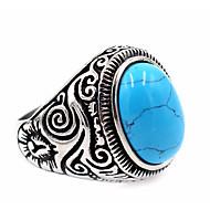Erkek Turkuaz Oymalı Yüzük Mühür yüzüğü Paslanmaz Çelik Titanyum Çelik Bayan Eşsiz Tasarım Temel Moda Yüzükler Mücevher Siyah / Mavi LED Uyumluluk Teşekkür ederim Günlük Şükran Günü 7 / 8 / 9 / 10