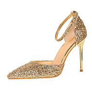 cheap Women's Heels-Women's Shoes Sparkling Glitter Spring Summer Ankle Strap Basic Pump Heels Stiletto Heel Closed Toe Pointed Toe Sparkling Glitter Buckle