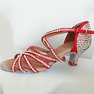baratos Sapatilhas de Dança-Mulheres Sapatos de Dança Latina Cetim Salto Cristais / Presilha Salto Carretel Personalizável Sapatos de Dança Marron / Vermelho / Azul
