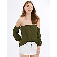 Feminino Camiseta Para Noite Férias Sensual Moda de Rua Primavera Outono,Sólido Verde Poliéster Ombro a Ombro Manga Longa Média