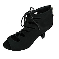 cheap Group Buy Saturday-Women's Latin Shoes Nubuck leather Sandal Customized Heel Customizable Dance Shoes Black / Dark Blue / Red / Indoor