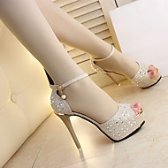 Feminino Sapatos Tecido Verão Conforto Sandálias Salto Agulha Para Casual Dourado Preto Prata