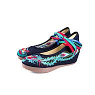 baratos Sapatos Femininos-Mulheres Sapatos Tecido Primavera / Outono Conforto / Sapatos bordados Rasos Salto Plataforma Ponta Redonda Rendado / Colchete Preto /