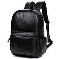 cheap Backpacks-Men's Bags Cowhide Backpack Smooth Solid Colored Black