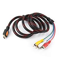 5 Fod Hdmi Han Input Til 3 Rca Stik Video Lyd Av-Kabel Adapter Omformer Forbinder, Holdbar (Sort, 1.5M)