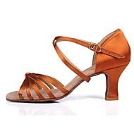 baratos Sapatilhas de Dança-Mulheres Sapatos de Dança Latina Cetim Sandália / Salto Presilha / Vime Salto Cubano Personalizável Sapatos de Dança Castanho Escuro