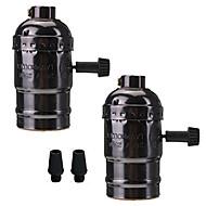 2 stk e26 / e27 sokkel skruer pærer edison retro pendel lampe holder med bryter 110-240v for lampe eller armatur erstatning diy prosjekter