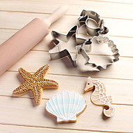 3PCS Ocean Scenario Cookies Cutter Starfish Hippocampus Sea Shell Stainless Steel Biscuit Cake Mold Metal Kitchen Fondant Baking Tool