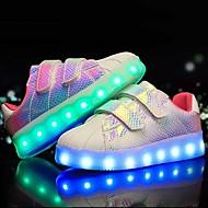 Para Meninos Tênis Tênis com LED Courino Verão Outono Casual LED Salto Baixo Branco Preto Roxo Rosa e Branco Menos de 2,5cm