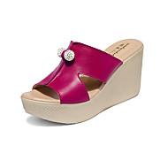 baratos Sapatos Femininos-Mulheres Calcanhares Microfibra Verão Conforto Sandálias Salto Plataforma Peep Toe Branco / Preto / Vermelho