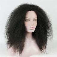 Naisten Keskikokoinen Musta Suora Kinky Straight Synteettiset hiukset Lace Front Luonnollinen peruukki puku Peruukit