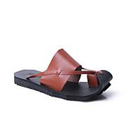 Masculino Sandálias Solados com Luzes Couro Primavera Verão Casual Caminhada Rasteiro Branco Preto Marron Rasteiro