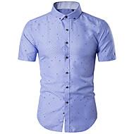 Masculino Camisa Social Casual Simples Verão,Geométrica Poliéster Colarinho de Camisa Manga Curta