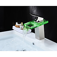 cheap Bathroom Sink Faucets-Bathroom Sink Faucet - Waterfall LED Nickel Brushed Centerset Single Handle One Hole
