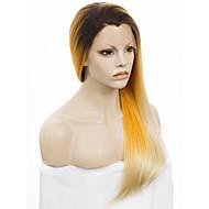 Mulher Perucas Lace Front Sintéticas Longo Reto Amarelo Cabelo Ombre Raízes Escuras Riscas Naturais Peruca para Cosplay Peruca para