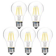 4W LED-hehkulamput A60(A19) 4 COB 300 lm Lämmin valkoinen Valkoinen Himmennettävissä V 5 kpl