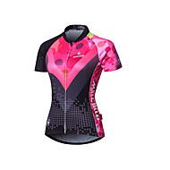 Malciklo Mulheres Manga Curta Camisa para Ciclismo - Rosa claro Formais Geométrico Moto Camisa / Roupas Para Esporte Verão, Poliéster